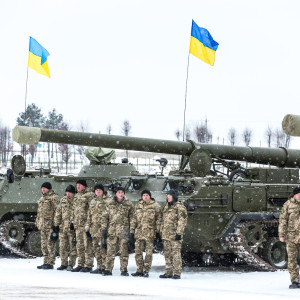 LVIV UKRAINE - DECEMBER 30 2014: Armed forces of Ukraine. Military and armored vehicles at the International Center for Peacemaking and safety before transferring it into zone of military conflict