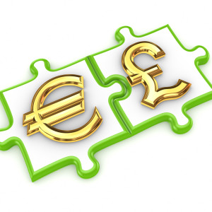 Merged puzzles with euro and pound sterling symbols.Isolated on white background.3d rendered.