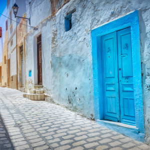 A narrow street in Sousse Tunisia, Africa ** Note: Soft Focus at 100%, best at smaller sizes