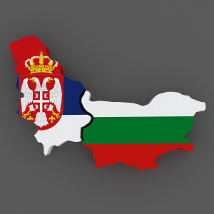 Serbia and Hungary. map. 3d