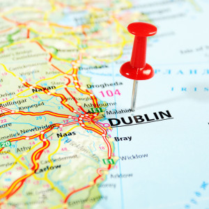 Dublin Ireland United Kingdom map and pin - Travel concept ** Note: Shallow depth of field