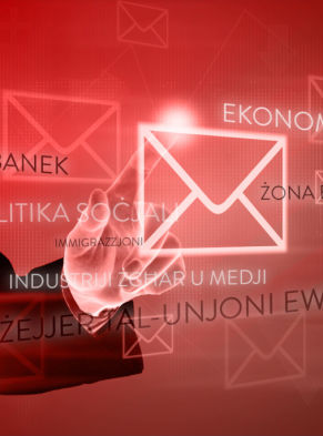 Business Hand Pushing E-mail On Virtual Screen