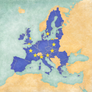 European Union (flag of EU) on the map of Europe. The Map is in vintage summer style and sunny mood. The map has soft grunge and vintage atmosphere which acts as watercolor painting on old paper.