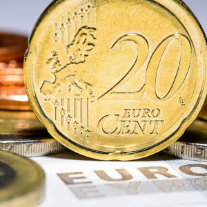 A 20 Euro cent coin, several other Euro coins and a bill.