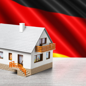 classic house against German flag background