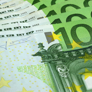 Close up of one hundred euro banknotes
