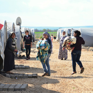 March 30,2015, Suruc in Turkey. Syrian people in refugee camp in Suruc. These people are refugees from Kobane and escaped because of Islamic state attack. March 30,2015, Suruc in Turkey.