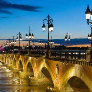View of Bordeaux at a summer night