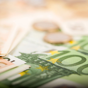 Euro Money Coins and Banknotes (1, 50 and 100 euro)