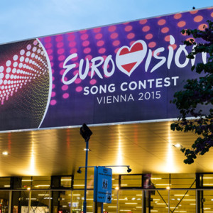 Vienna Austria - Mai 05 2015: the Wiener Stadthalle in Vienna is prepared to host the upcoming Eurovision Song Contest 2015 on Mai 23 2015. European countries send their musical representantive into this international competition.