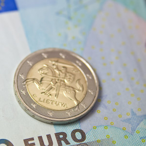 Euro coin of Lithuania close up view ** Note: Shallow depth of field