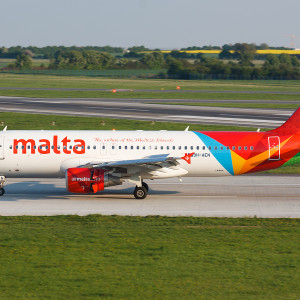 PRAGUE CZECH REPUBLIC - APRIL 23 2014: Air Malta Airbus A320 after landing atPRG in Prague in Czech republic. Air Malta carried 1.74 million passengers in 2013.