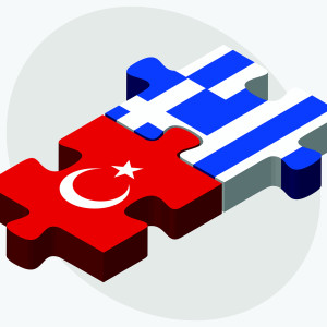 Vector Image - Turkey and Greece Flags in puzzle isolated on white background.